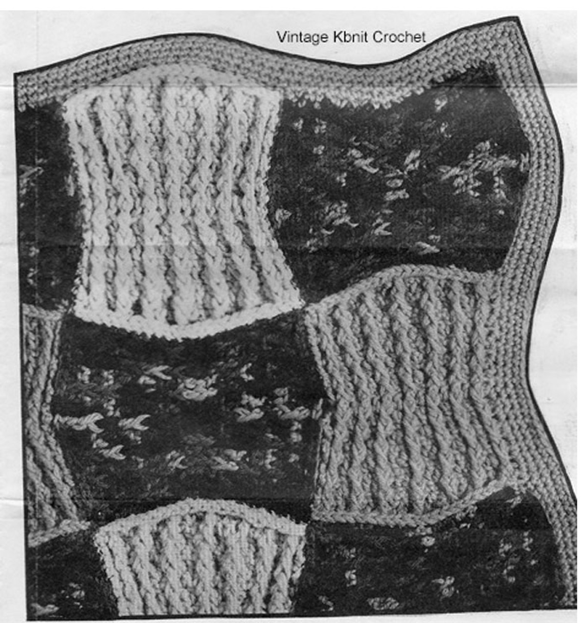 Crocheted Block Afghan Pattern Illustration, Mail Order 907