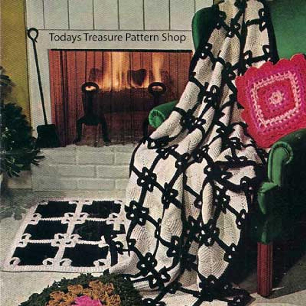 Vintage Crochet Block Afghan and Rug Pattern