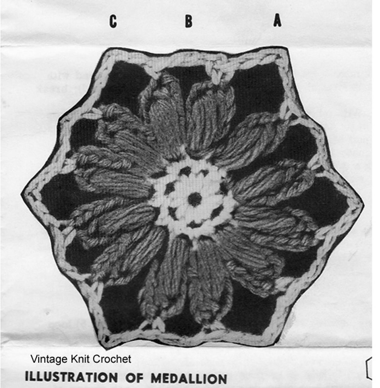 Crocheted Flower Medallion Illustration, Design 711