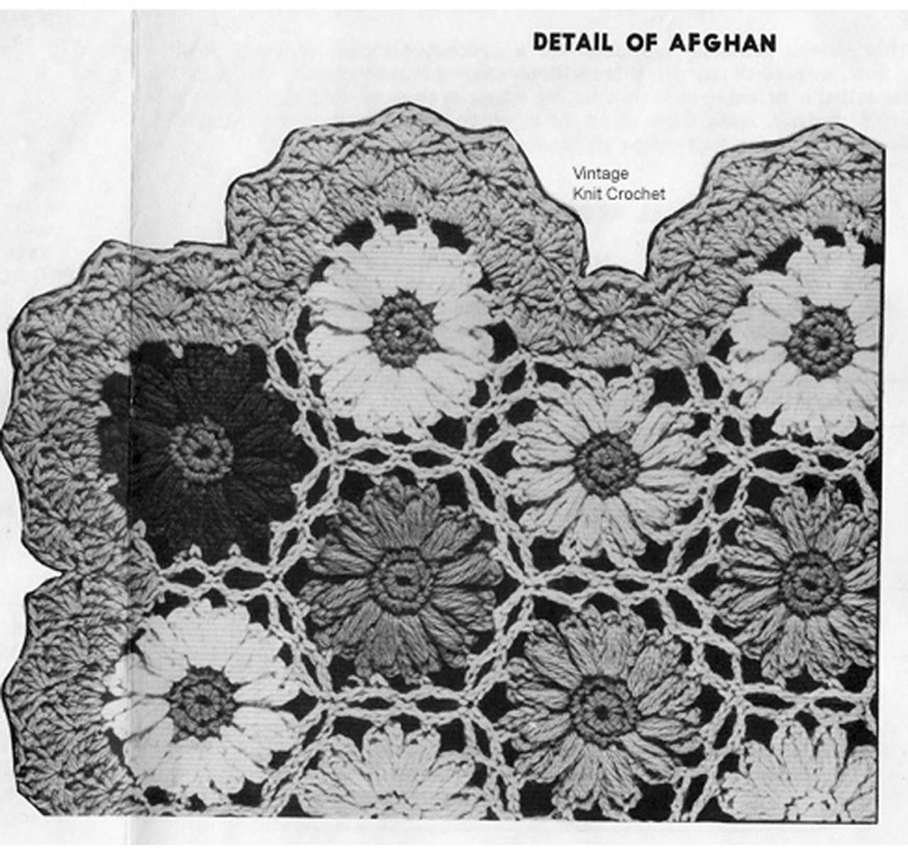 Crocheted Flower Medallion Afghan Detail, Design 711