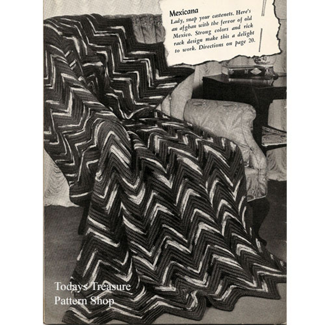 Vintage Geometric Afghan Crochet Pattern called Mexicana