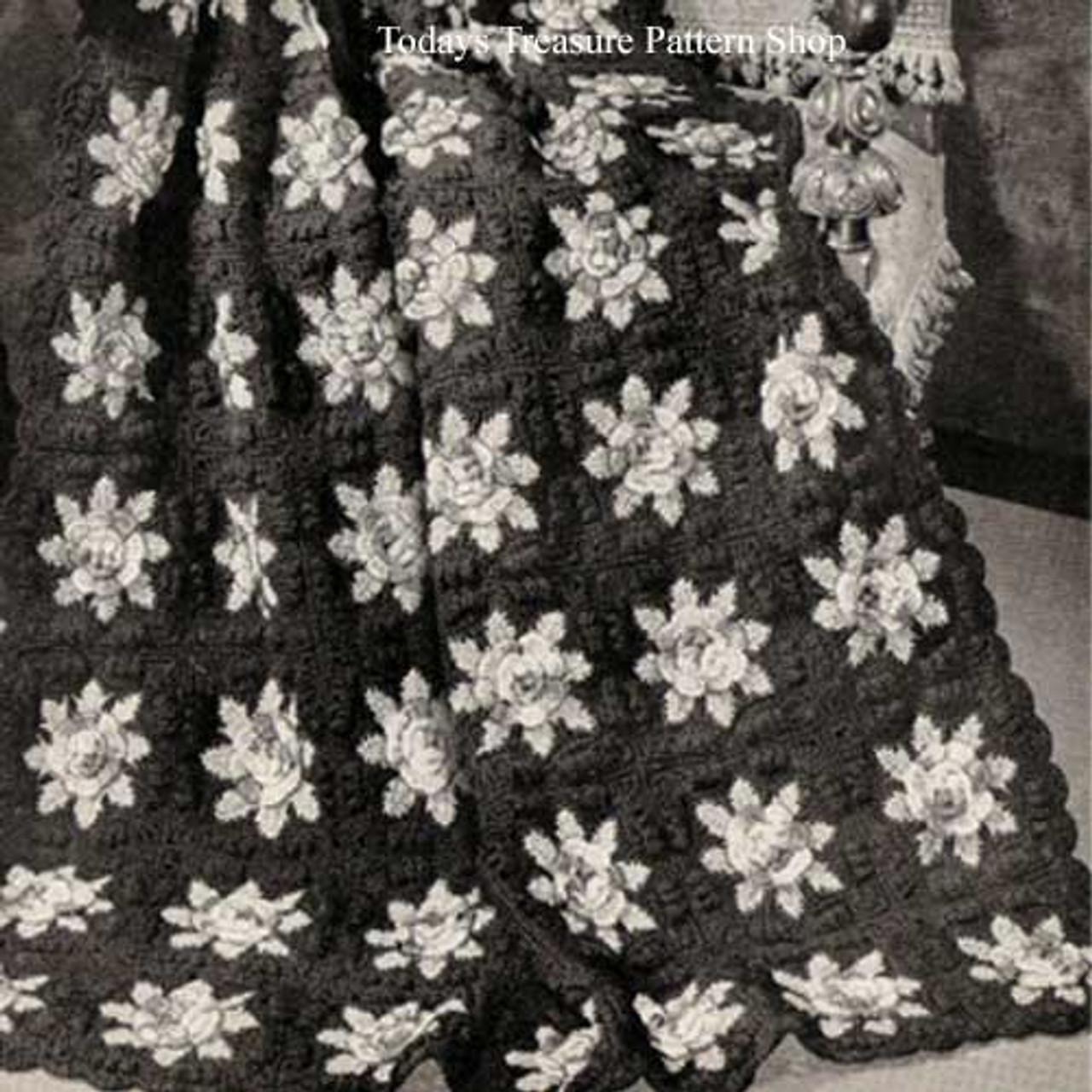 Vintage Flower Afghan Crochet Pattern in Blocks