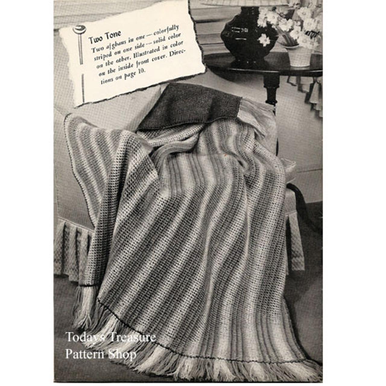 Vintage American Thread Striped Afghan Patter