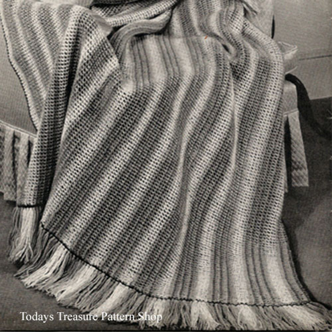 Easy Striped Crochet Afghan Pattern from American Thread