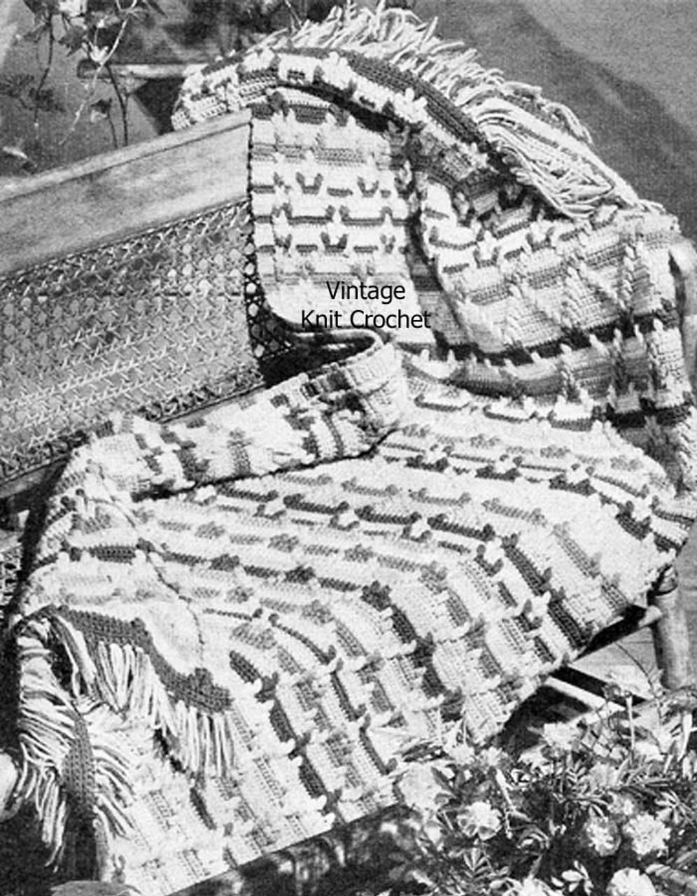 Crochet Afghan Pattern, Woven Stripes