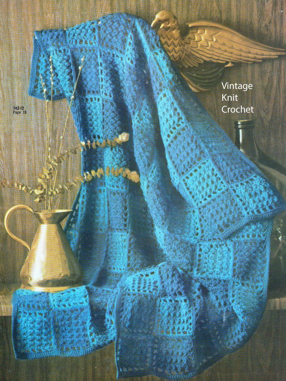 Easy Block Crochet Afghan Pattern No 742-12