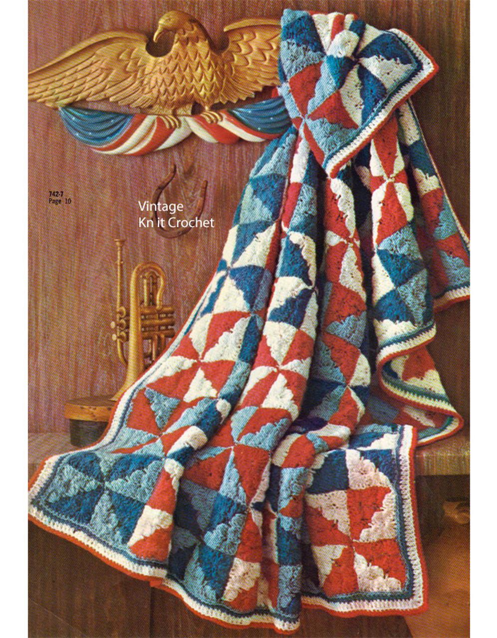 Patchwork Quilt Crochet Afghan Pattern No 742-6