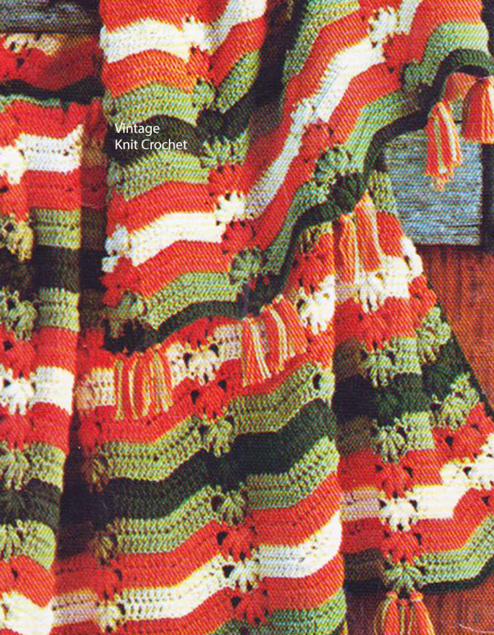Crochet Knitting Worsted Stripe Afghan Pattern