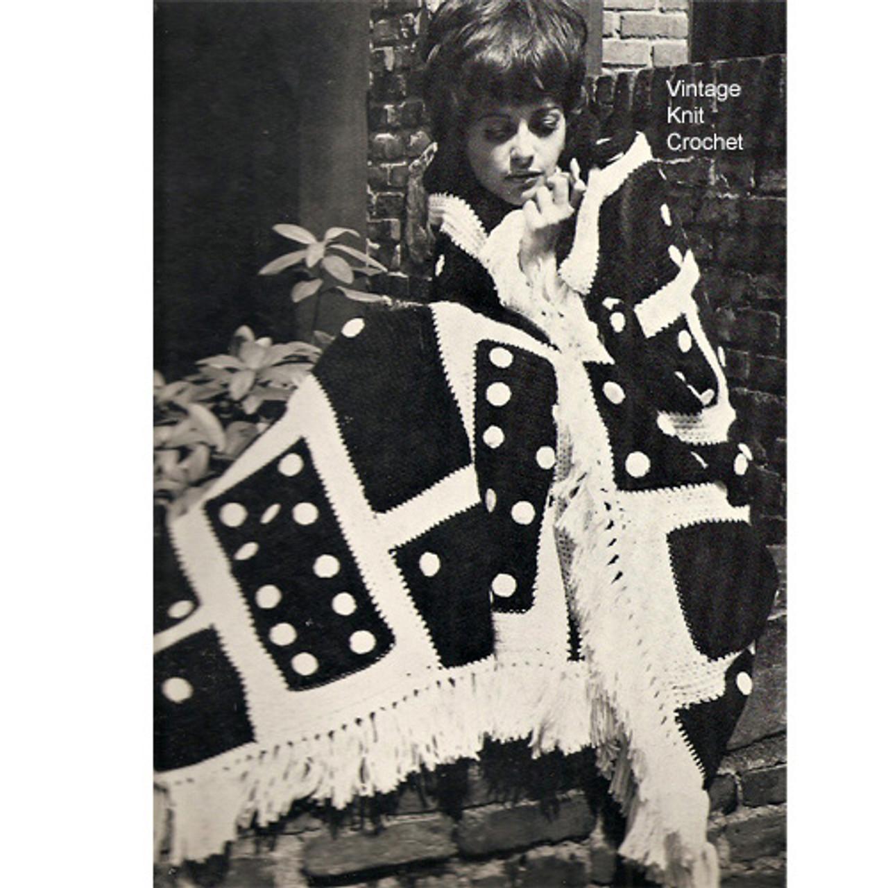 Crochet Domino motif fringed afghan pattern