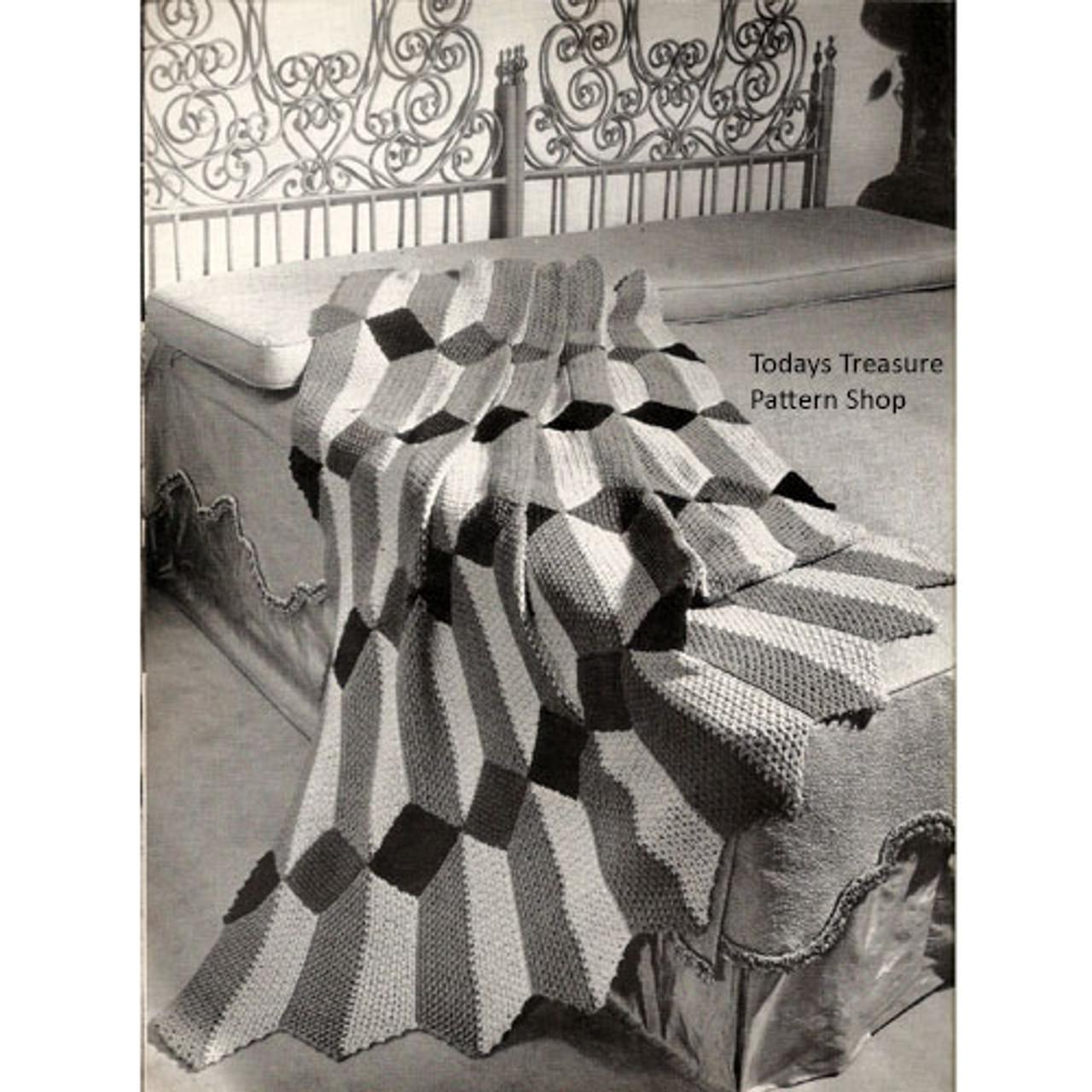 Vintage 1950's Crochet Panel Afghan Pattern
