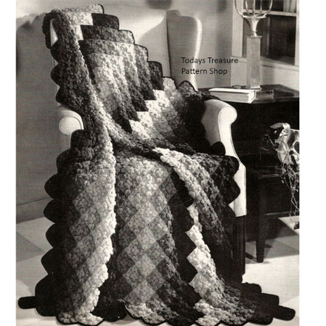Vintage 1950s Crochet afghan pattern, striped in popcorn stitch