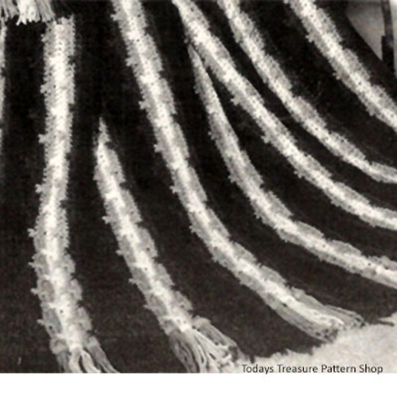 Three Color Striped Afghan Pattern, Vintage 1950s