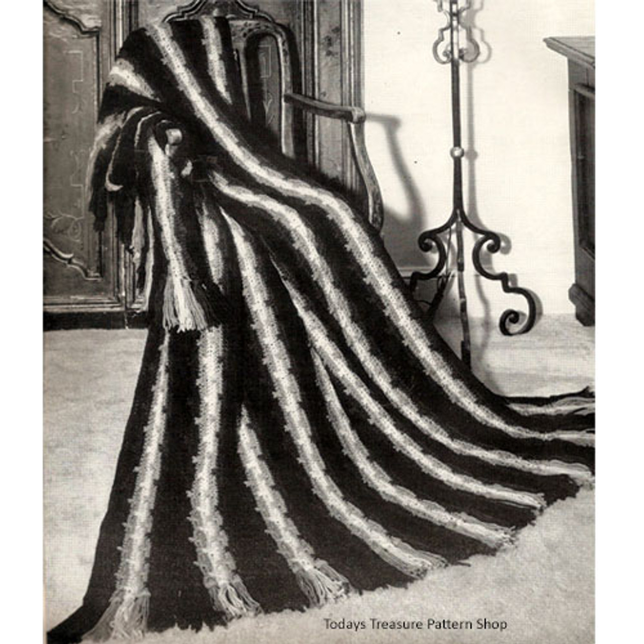 Striped Panel Crochet afghan pattern