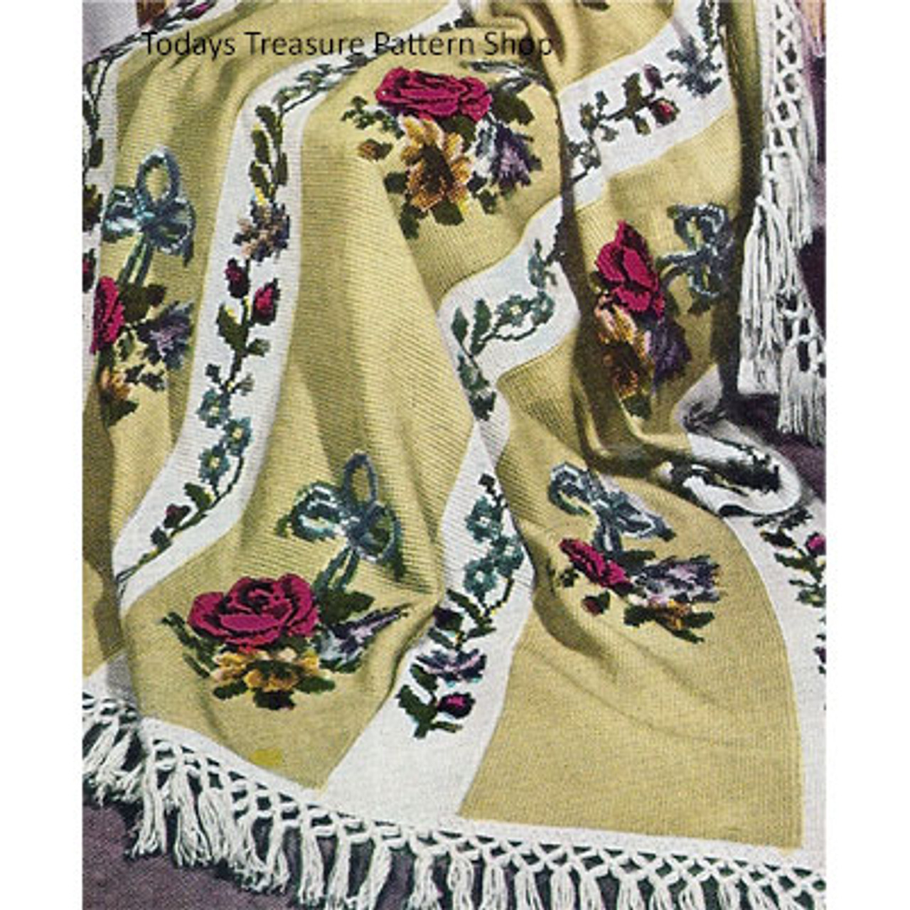Vintage Crochet Afghan Pattern with Rose Embroidery