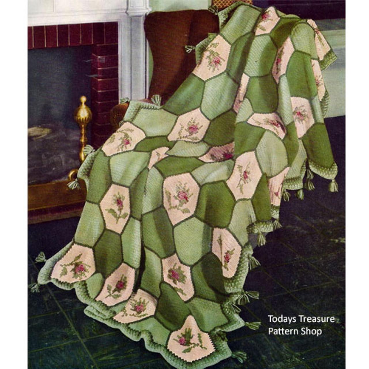Green Flower Hexagon Block Afghan Crochet pattern