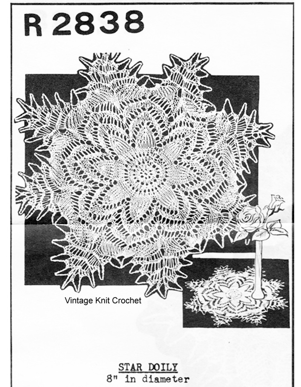 Mail Order Knitted Doily Pattern, Star Motif,  No R2838