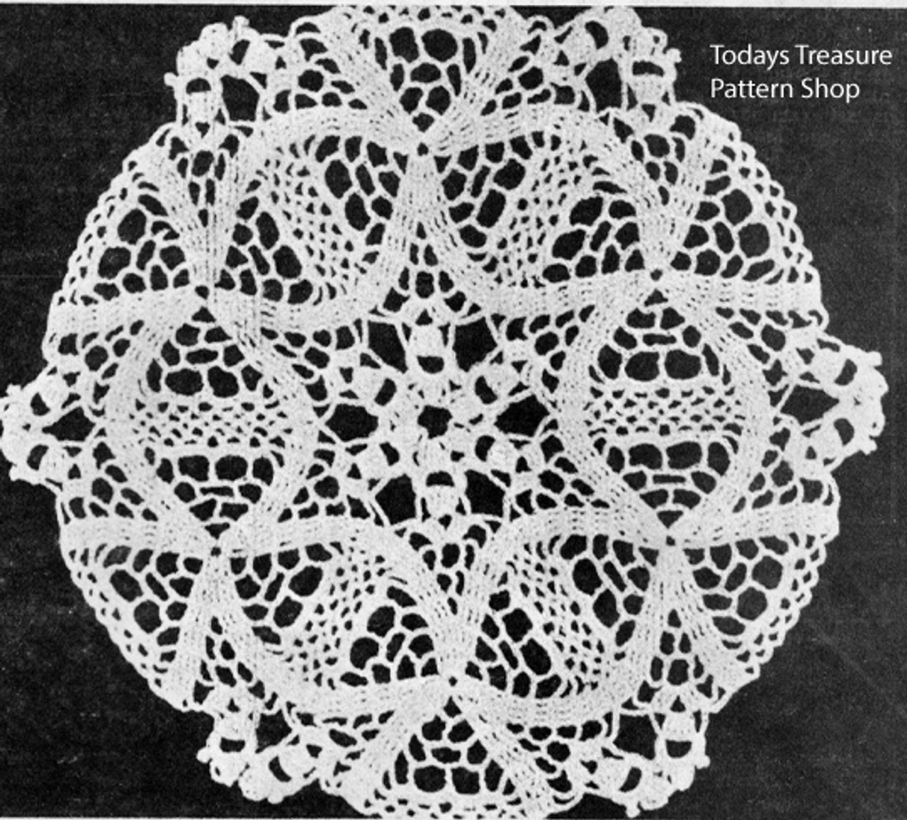 Small Flower Doily pattern crocheted in triangles
