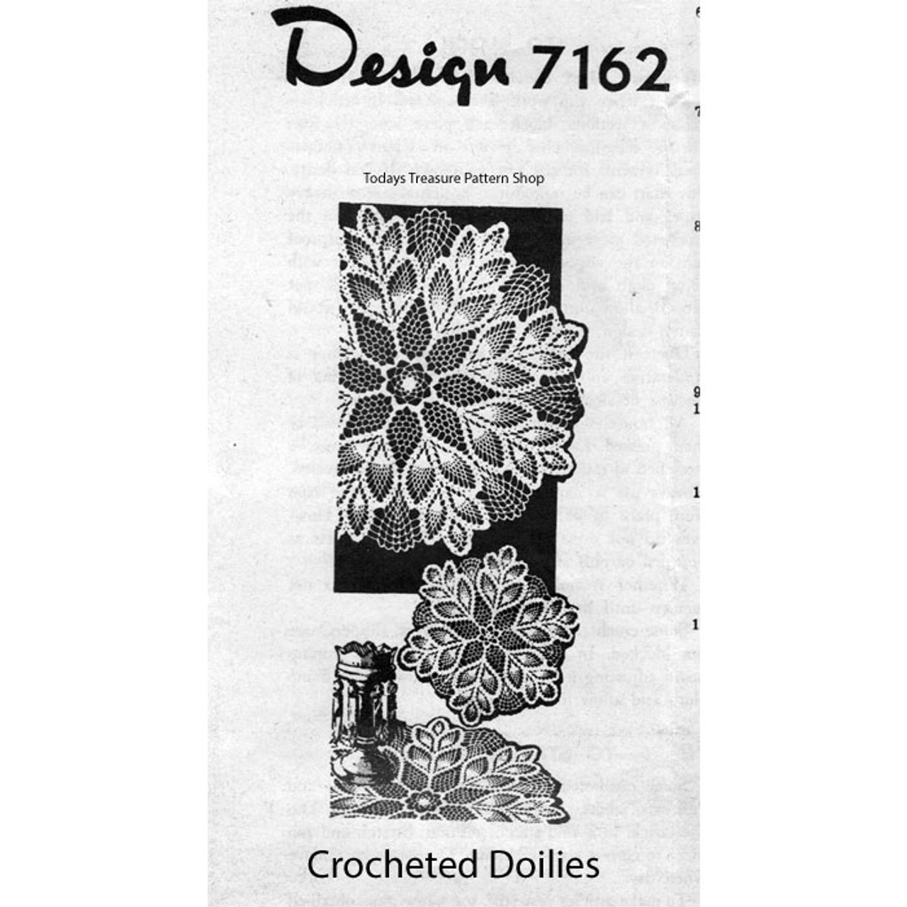 Crochet Flower Pineapple Doily Pattern No 7162