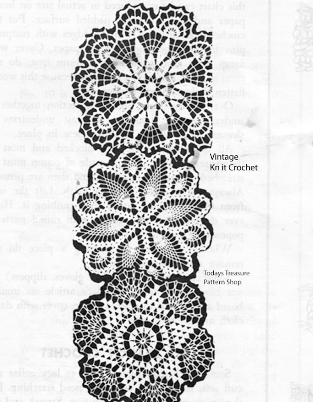 Crocheted Doilies Pattern, 3 variations, Design 7007