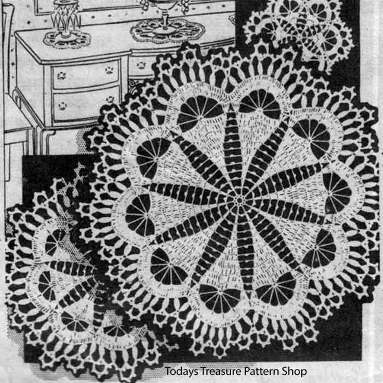 Vintage Flower Crocheted Doily Pattern