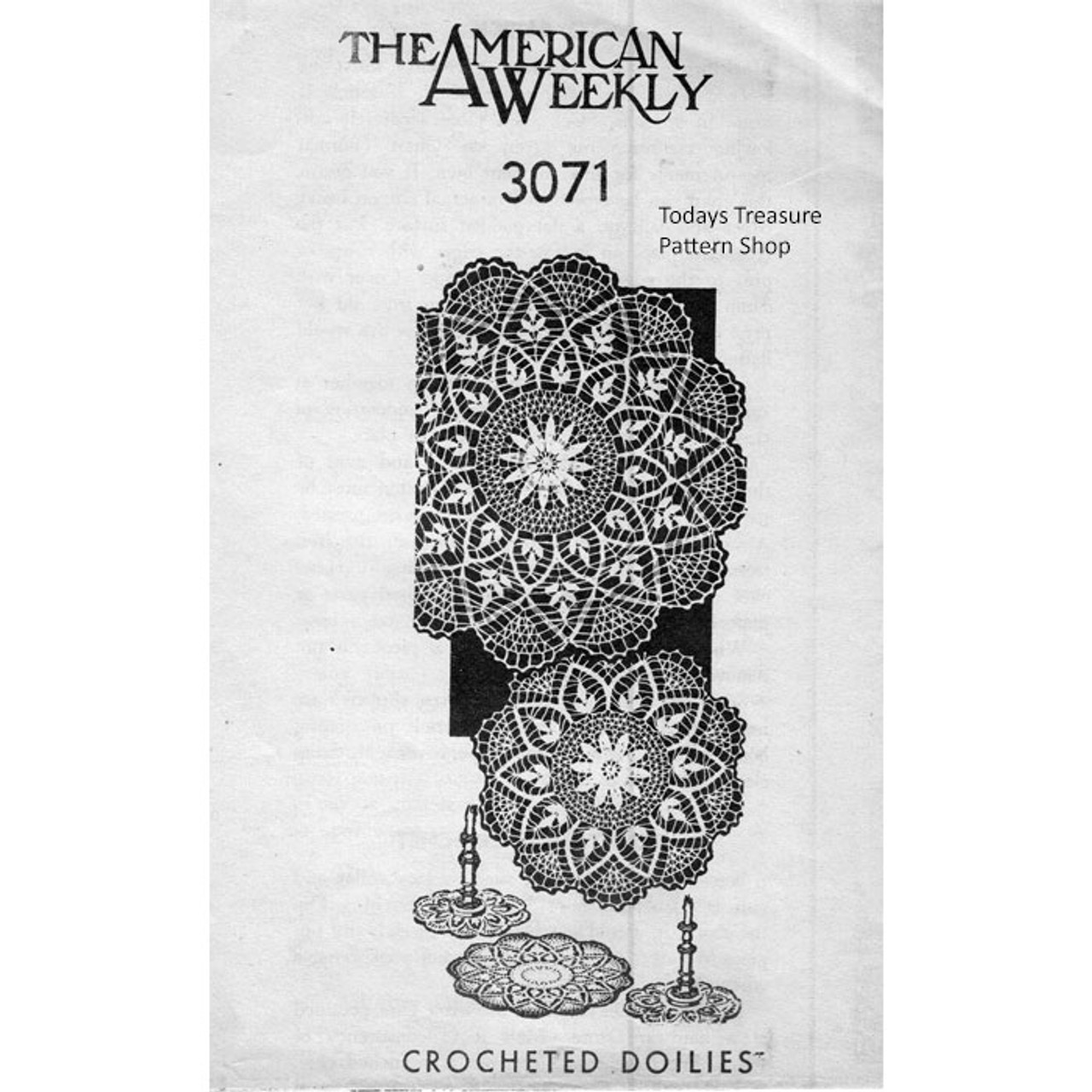 American Weekly 3071, Crochet Wheat Doily Pattern