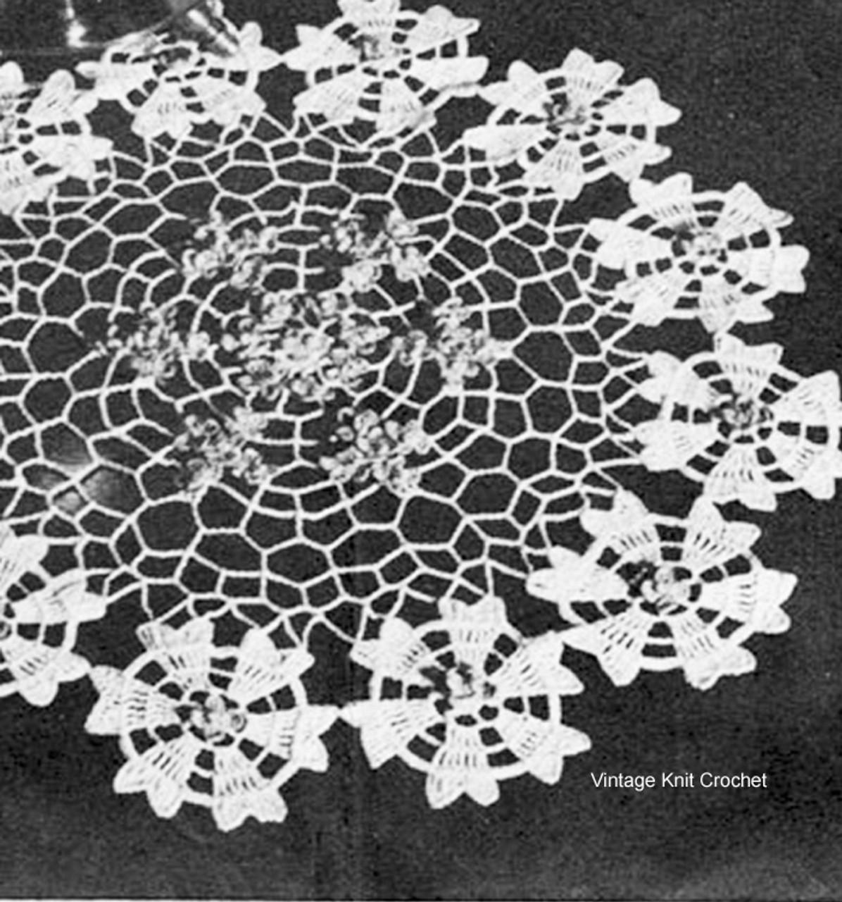 Crochet Doily Pattern Flower Border
