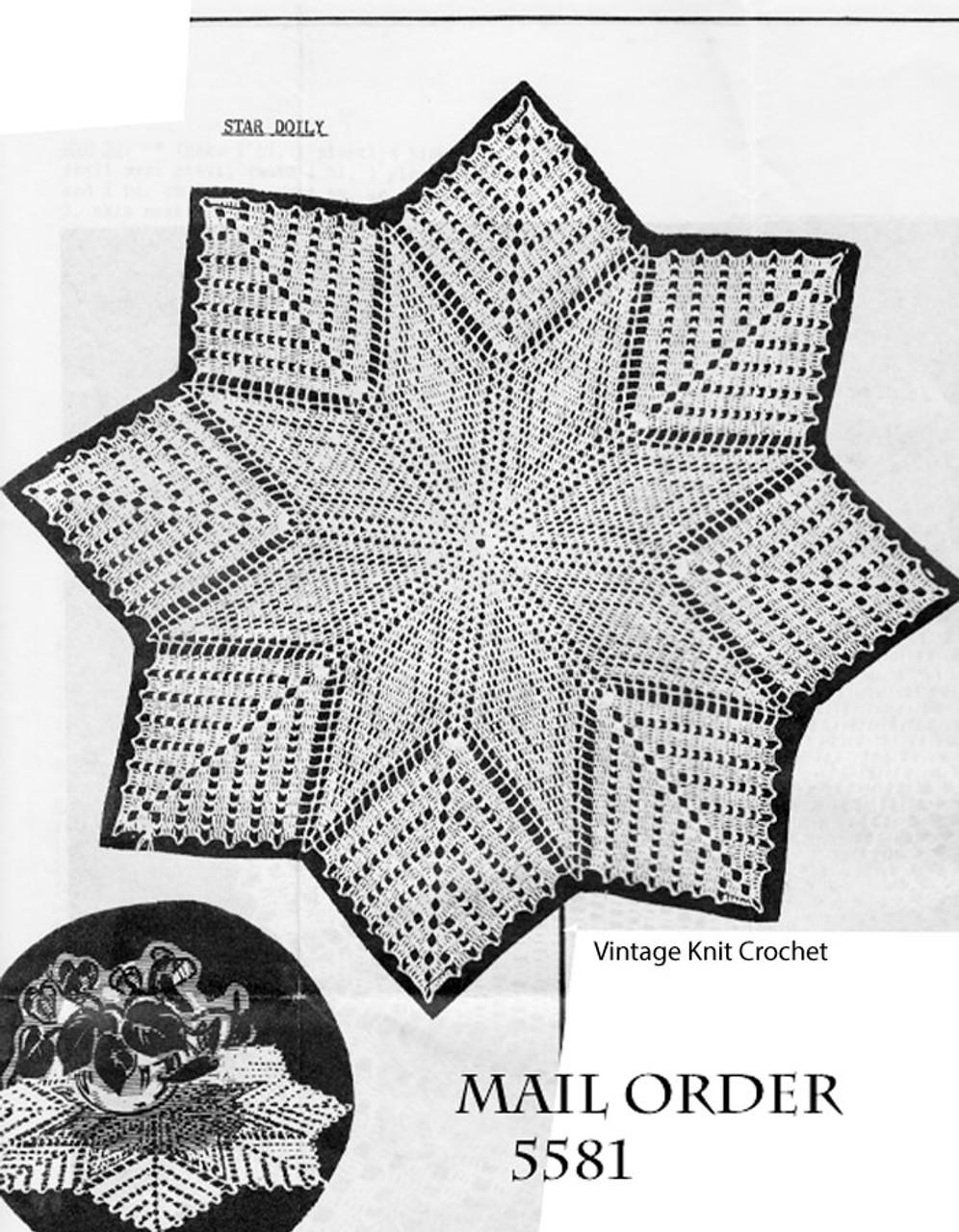 Eight Point Star Crochet Doily Pattern Design 5581