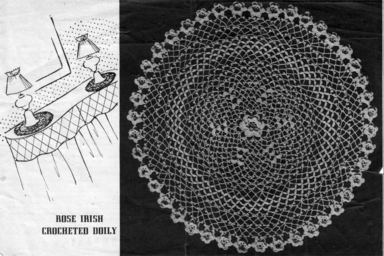 Vintage Irish Rose Crochet Doily Pattern from American Thread
