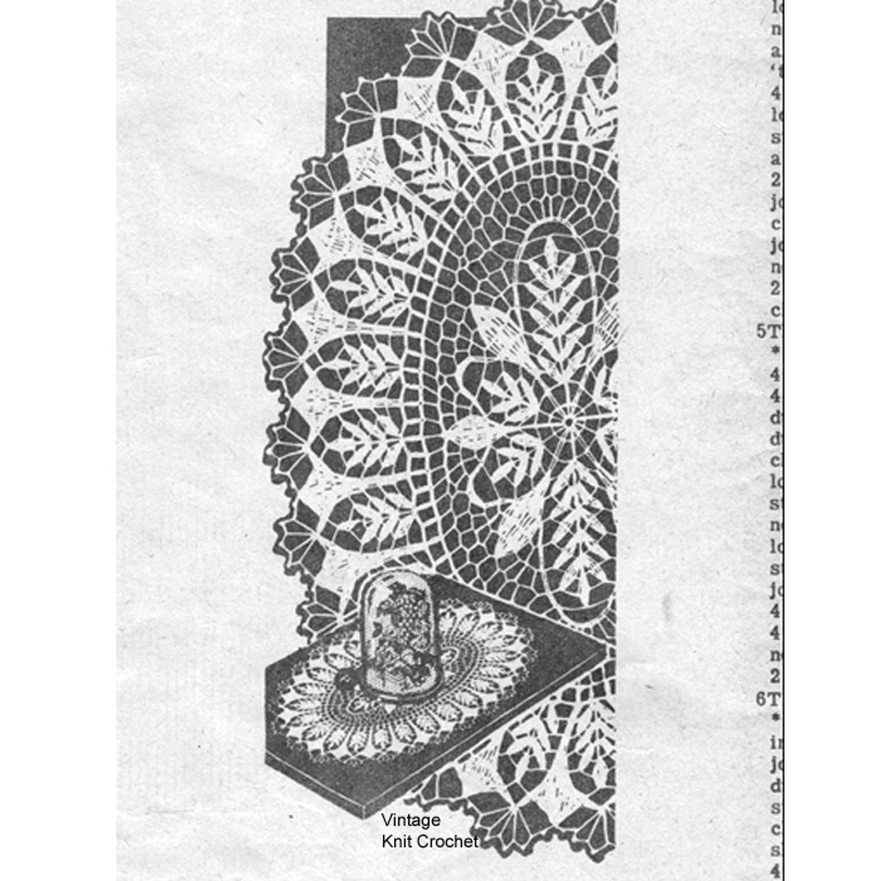 Oval Crochet Doilies in Fern Motif, Pattern Design 793