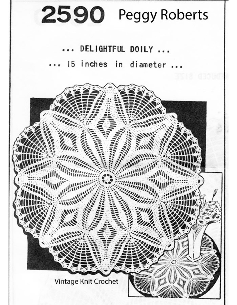 Crochet Flower Doily, Shell Border, Mail Order R-2590