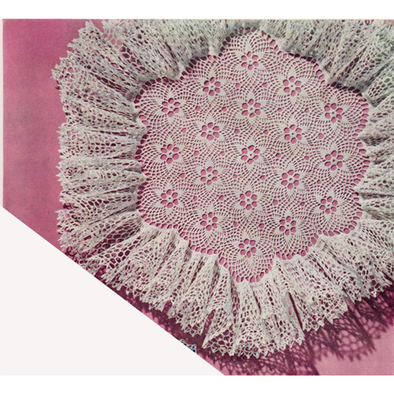 Flower Medallion Ruffled Crochet Doily Pattern