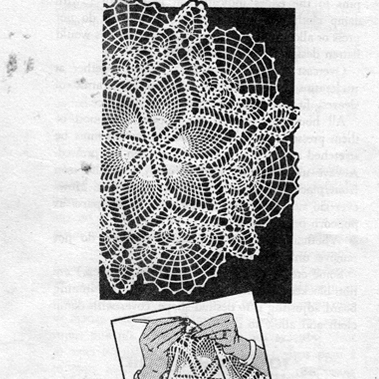 Centerpiece Crocheted Pineapple Doily No 3133
