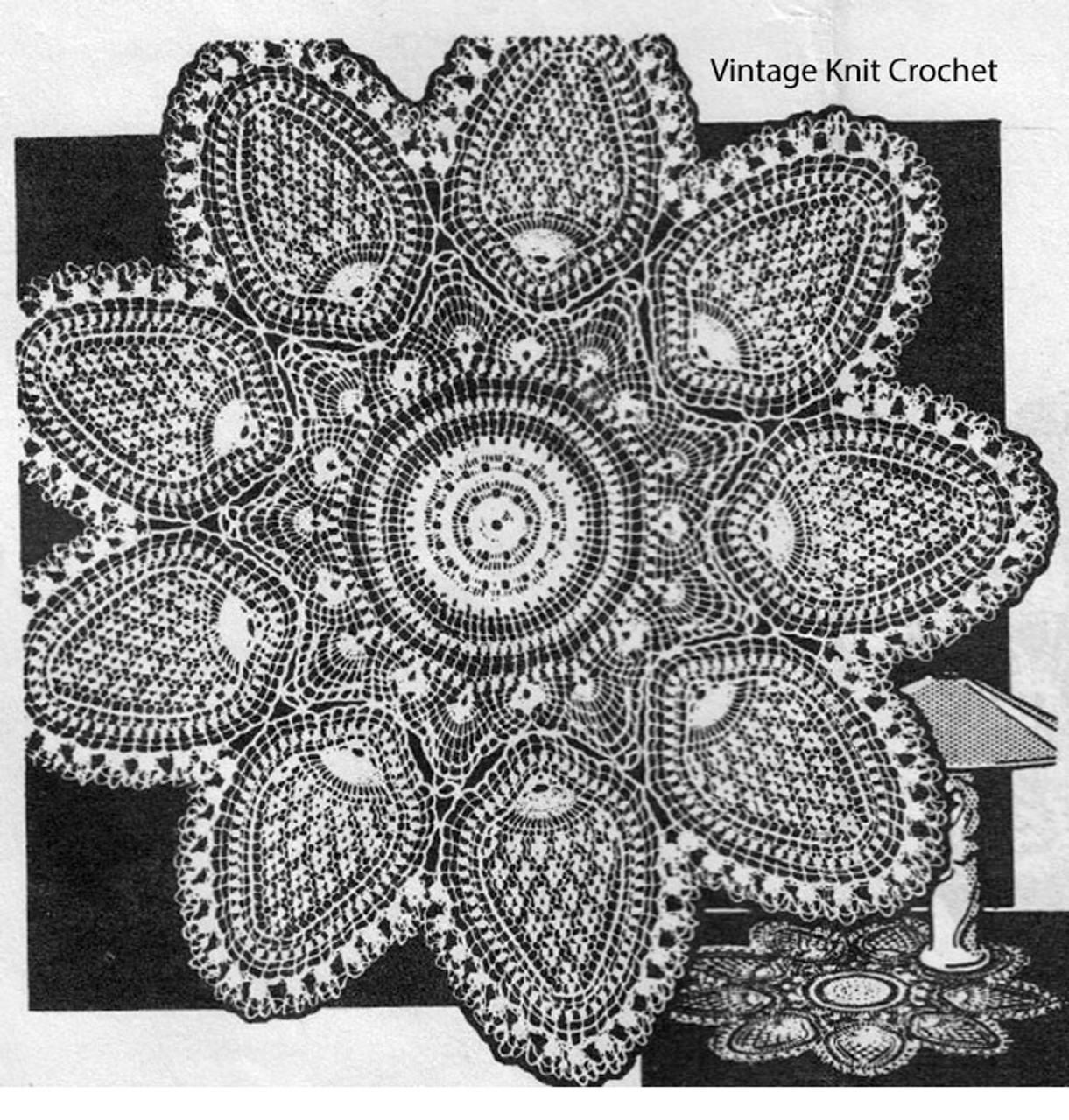 Pineapple Flower Crocheted Doily Pattern, Mail Order 2819