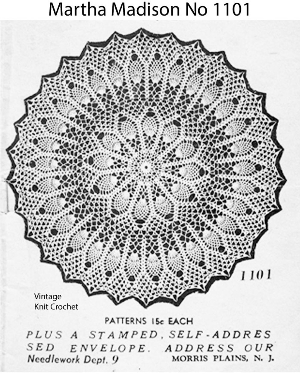 Crochet Gem Centerpiece Doily Pattern, Mail Order 1101