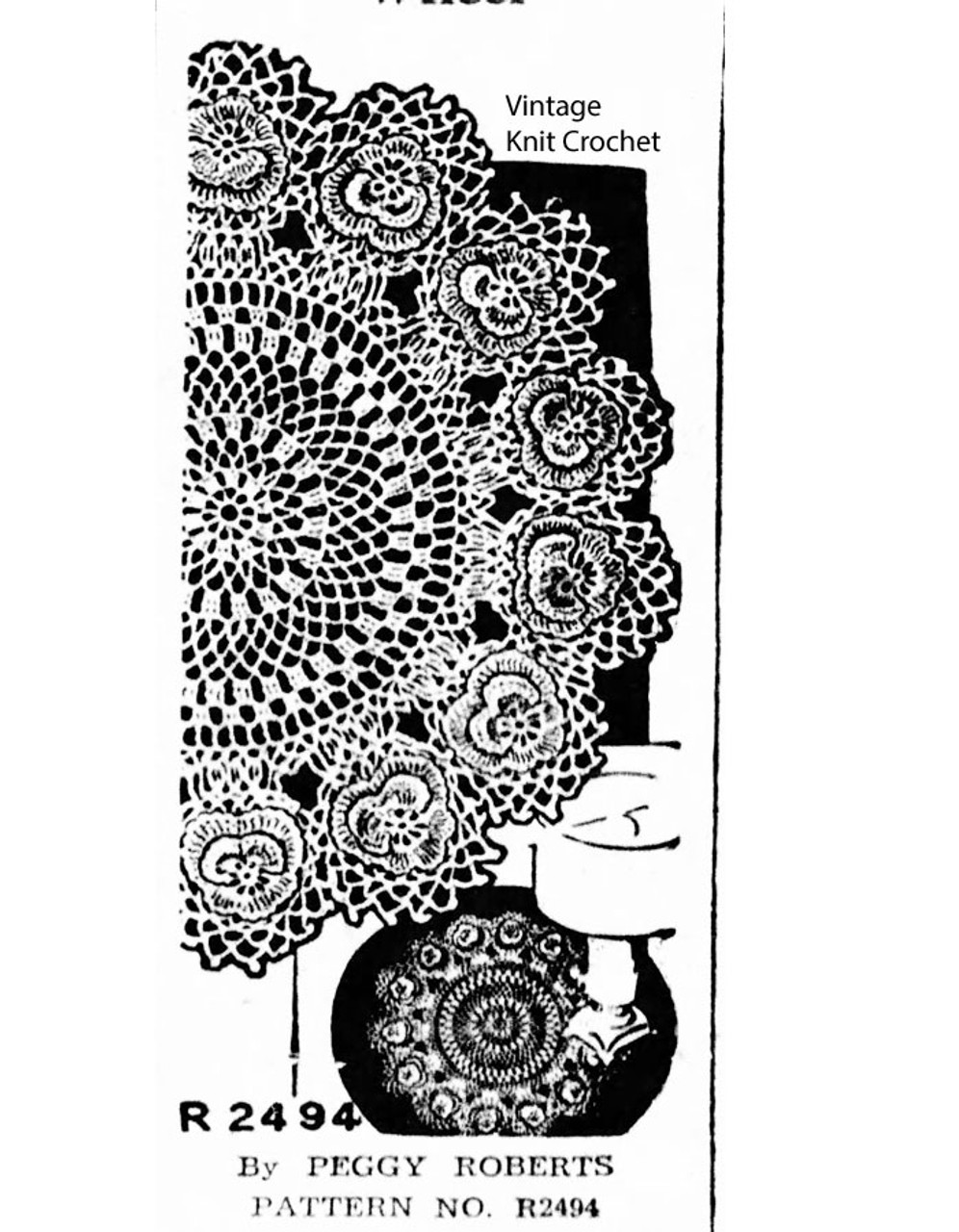 Crochet pansy doily pattern, Peggy Roberts R2494