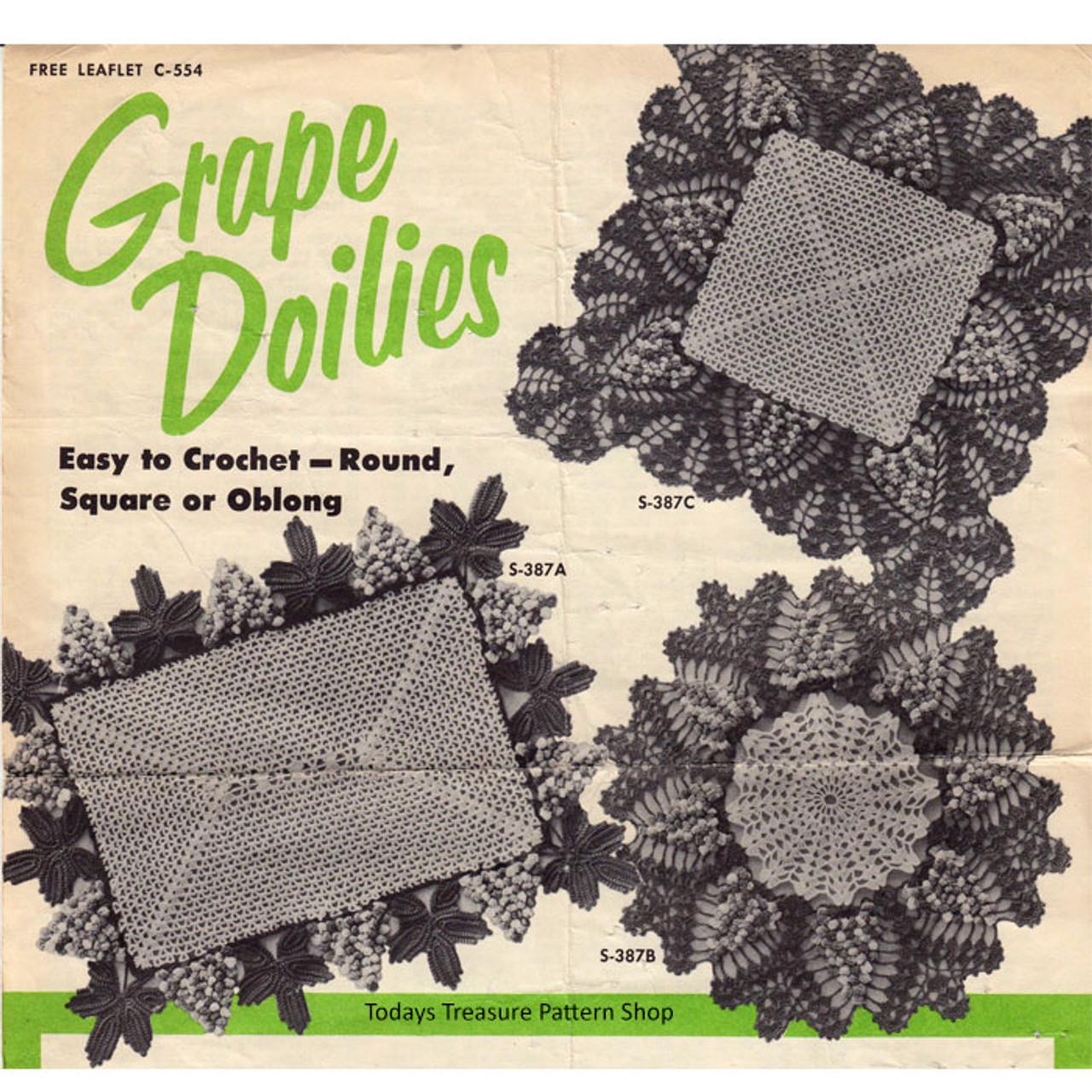 Grape Doily Mats Crochet Pattern, Spool Cotton 554