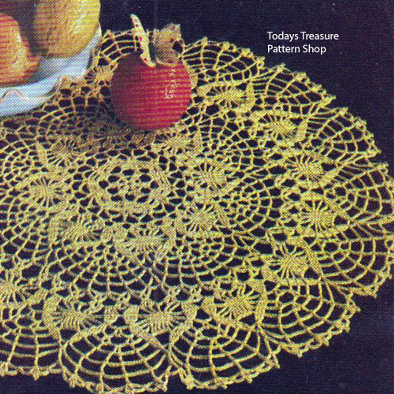 Crocheted Centerpiece Doily Pattern Golden Citrus