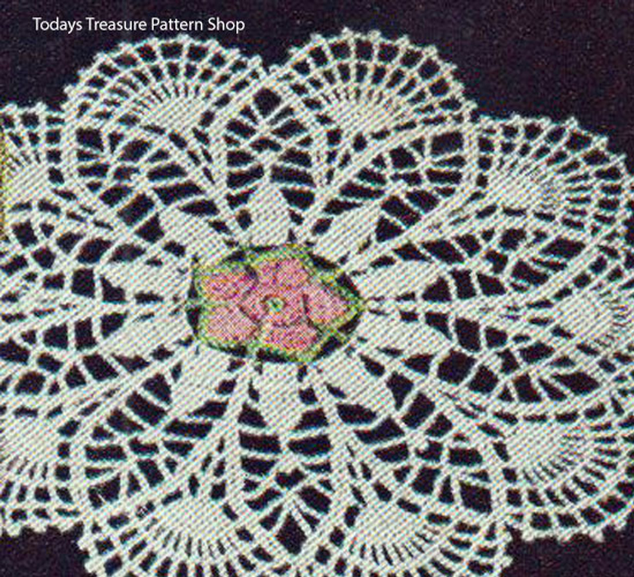 American Thread Crochet Flower Doily Pattern