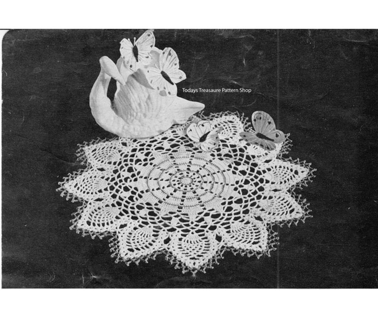 Vintage Crocheted Swan Doily Pattern