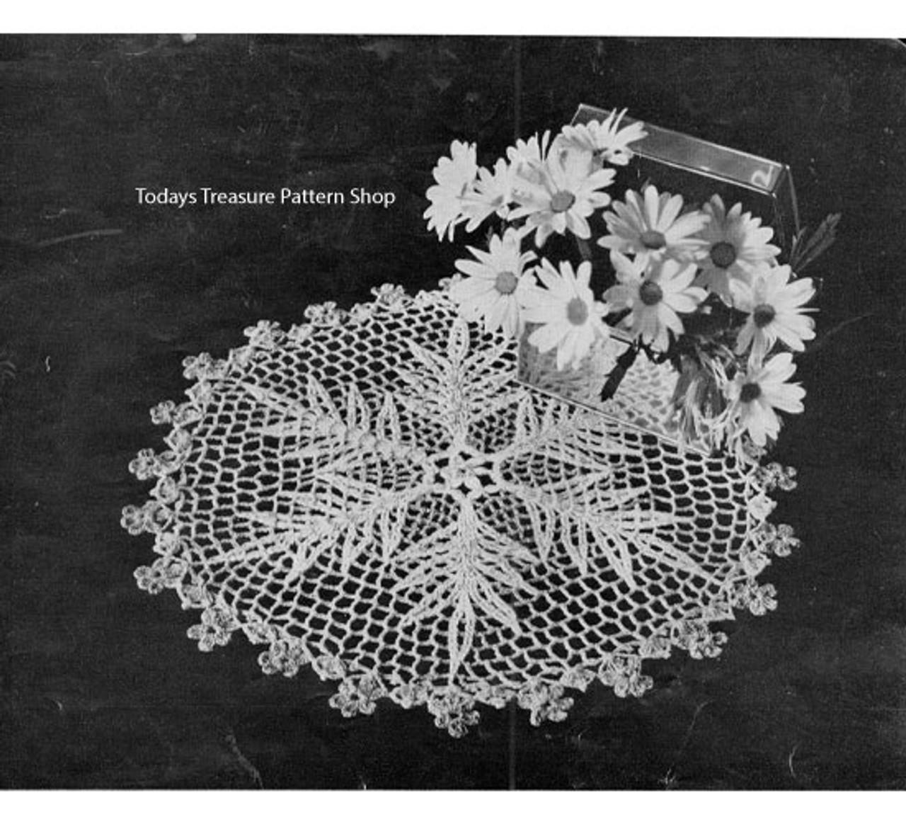Crocheted Pinky Doily Pattern, Vintage 1950s