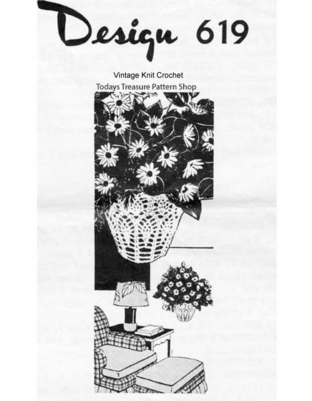 Crochet Basket Pattern, Pineapples, Mail Order 619