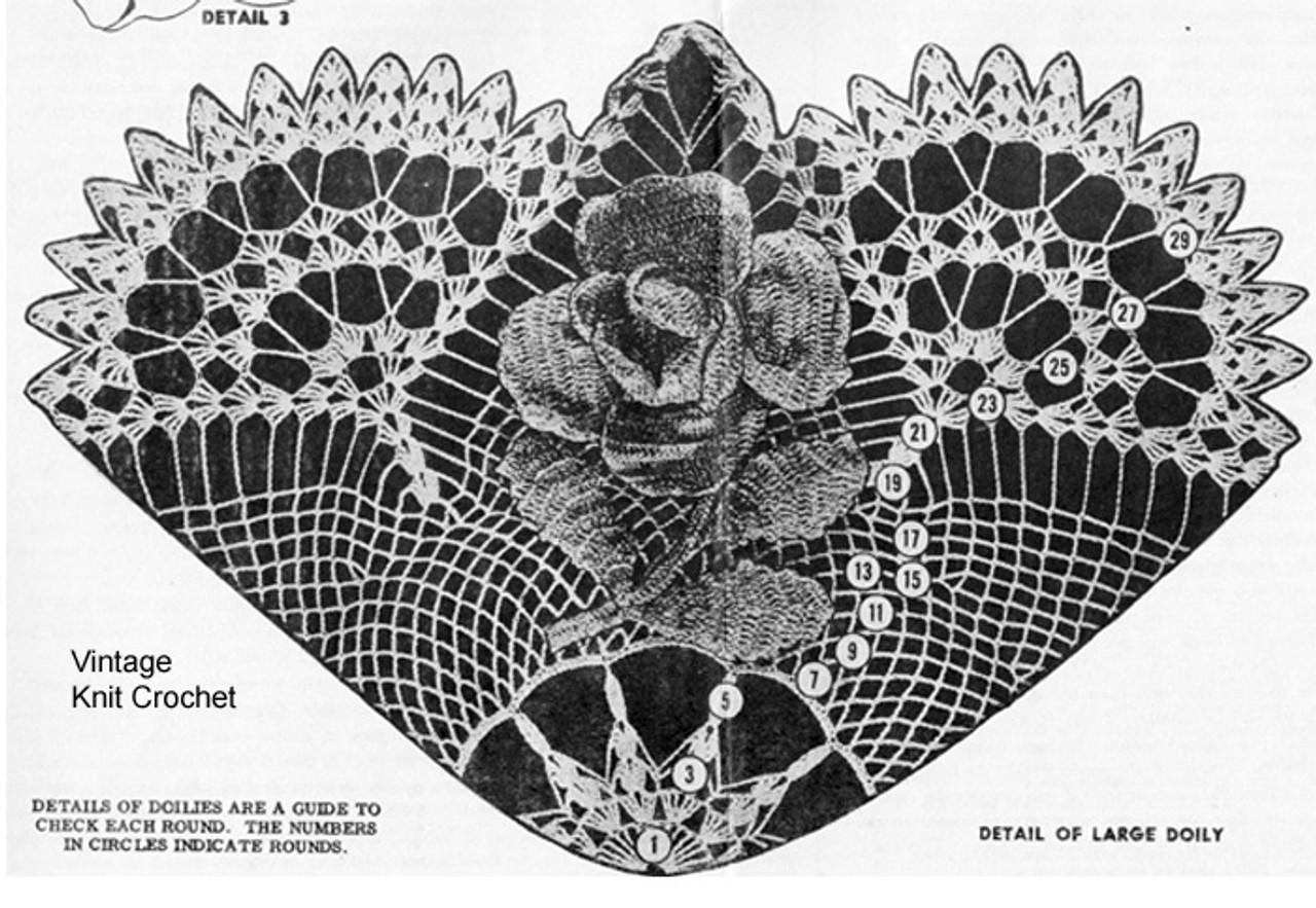 Crochet Rose Doily Illustration, Large