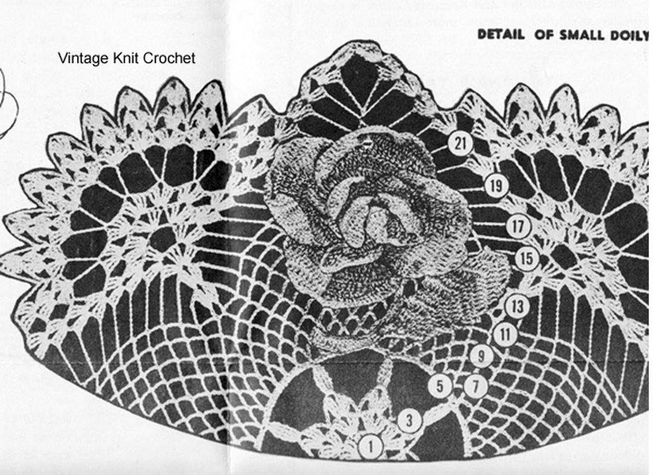 Crochet Rose Doily Illustration, Small
