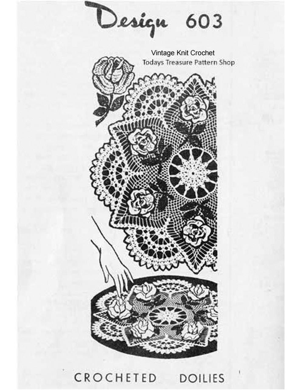 3-d Crochet rose doily pattern, Mail Order 603