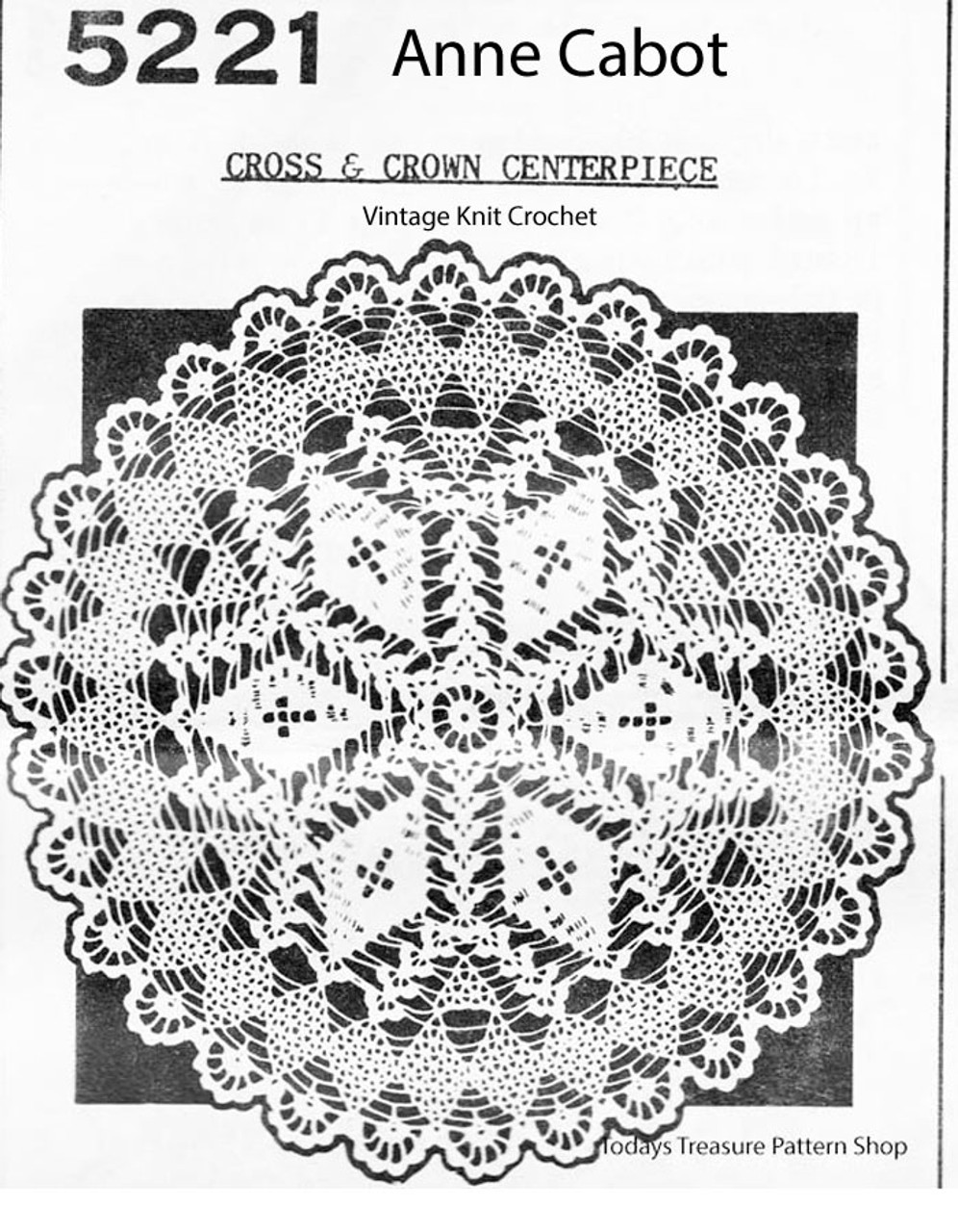 Vintage Cross and Crown Crochet Doily Pattern, Anne Cabot 5221
