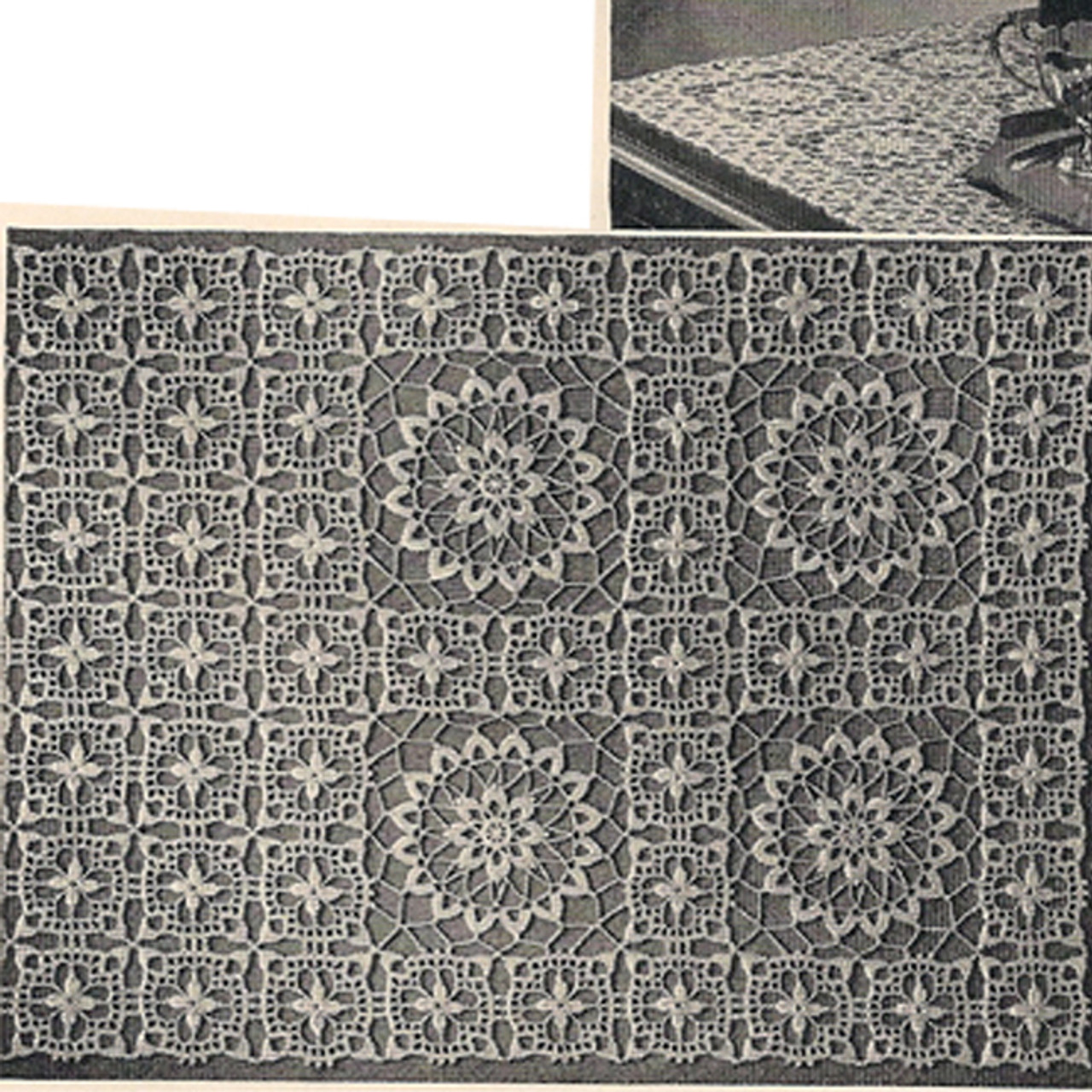 Crocheted Runner or scarf pattern, vintage 1950s