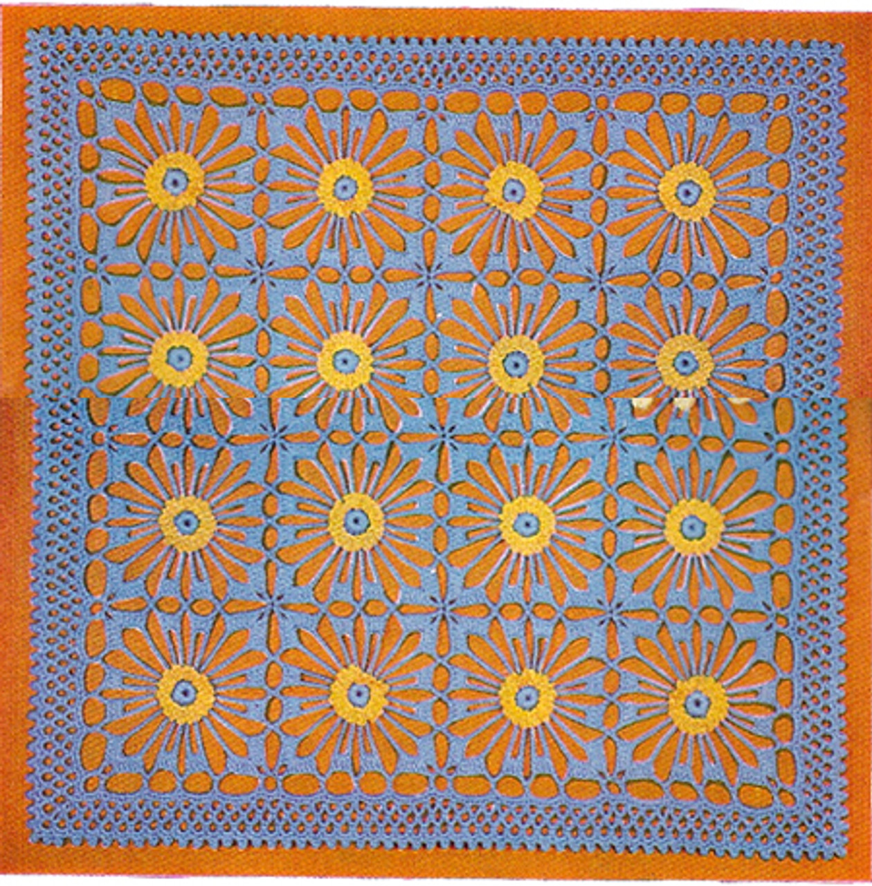 Vintage Flower Medallion Square Doily Pattern