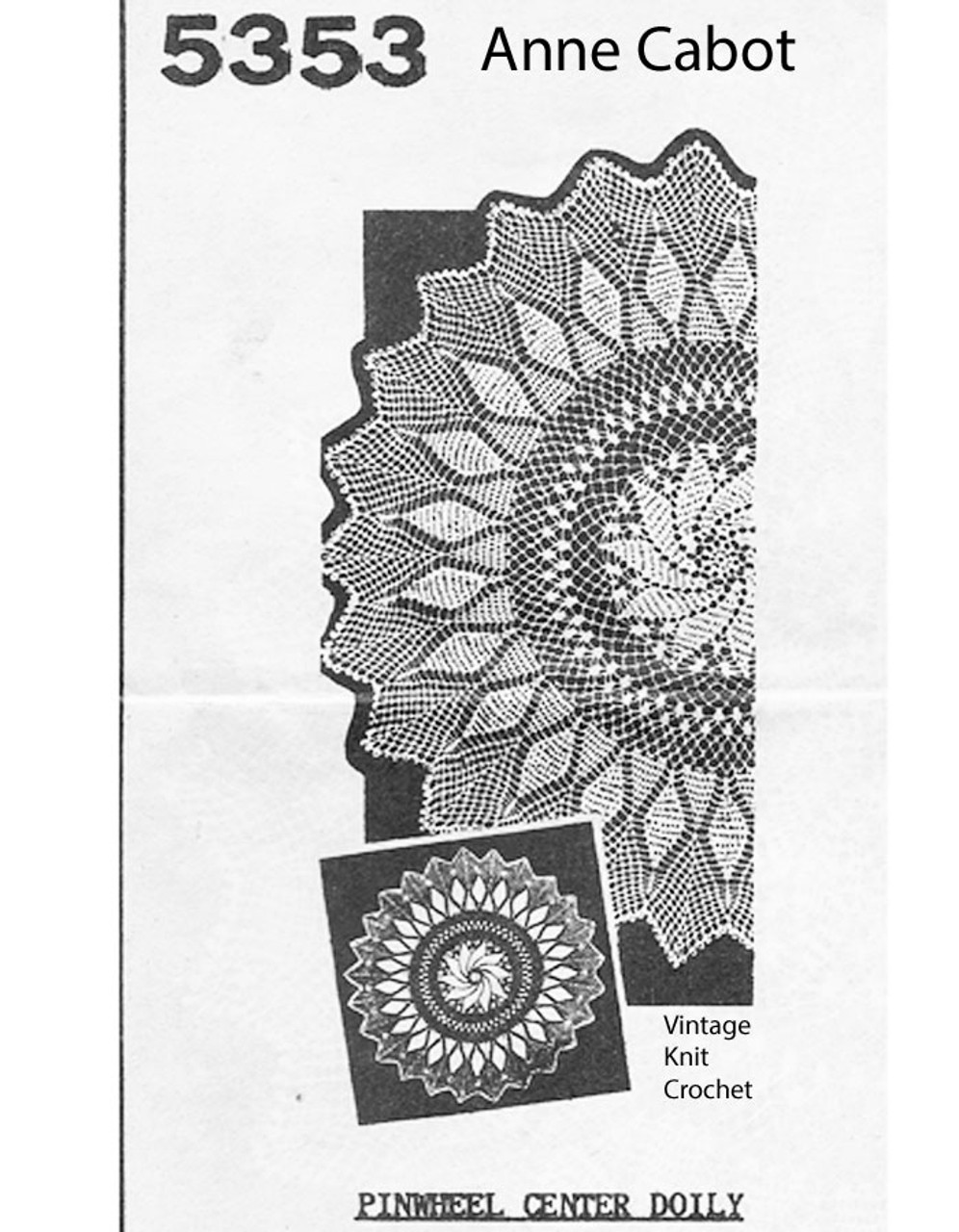 Crochet Pinwheel Centerpiece Doily No 52353