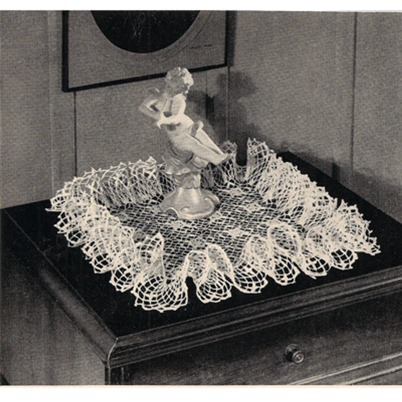 Vintage Square Doily Pattern with Ruffled Border