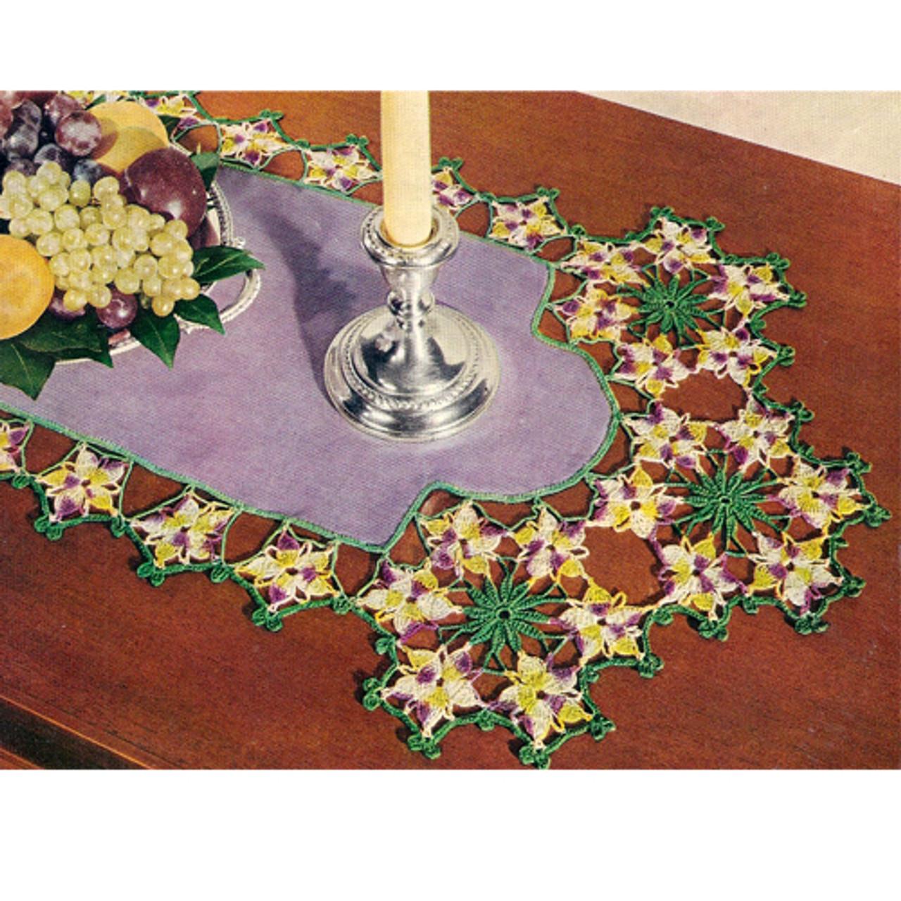 Crochet Violet Edging Scarf Pattern on Linen
